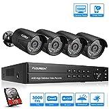 FLOUREON DVR Kit Videosorveglianza Sistemi Videocamera (8CH AHD 1080N ONVIF AHD DVR + 4X 3000TVL 1080P 2.0MP Bullet Camera Esterno + 1TB Disco Rigido)