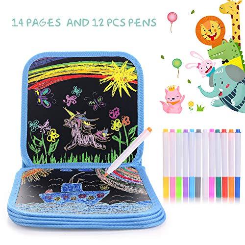 HellDoler Portatile da Disegno per Bambini Doodle Disegno Giocattoli Libro di Pittura per Bambini con 12 Penne cancellabili Colorate Lavagna Doppia
