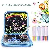 HellDoler Bloc de Dibujo para Colorear para Niños, Almohadilla de Dibujo Borrable Portátil para Niños con 12 Bolígrafos Borrables de Colores,14 páginas