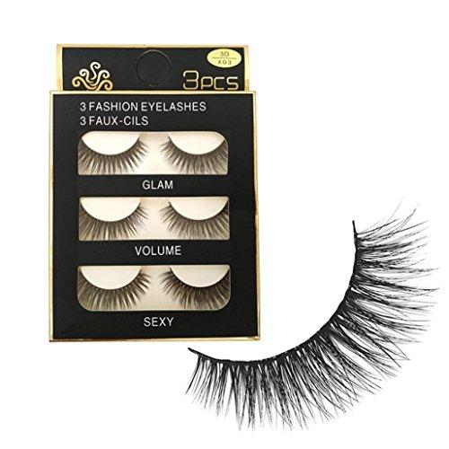 Igemy Make-up 3D Natürliche lange gefälschte Augen Peitschen Handgefertigte dicke falsche Wimpern schwarz