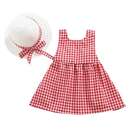 EUCoo_ Kinder Weiblich Baby kinderkleidung Weste Kleid ärmellos kariert Schleife + Strohhut Zweiteiliger Anzug (0,5-4 Jahre alt)(rot, 100)