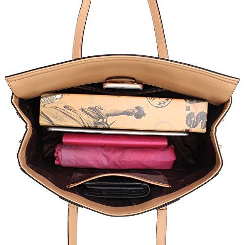 Kadell Frauen Leder Handtasche Tote Umhängetasche Weaving Design Clamshell Taschen Black Khaki