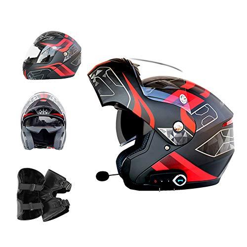 Casco modulare Moto Casco Bluetooth Bluetooth + FM D.O.T Certificazione Casco Moto Fuoristrada Motocross ATV Dirt Bike,mattblack,XL