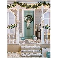 Uonlytech Telón de Fondo de Navidad Fotografía Tema de Navidad Guirnalda de la Puerta de Nieve Paño pictórico Fotografía Personalizada Fondo Estudio Prop 3x5ft
