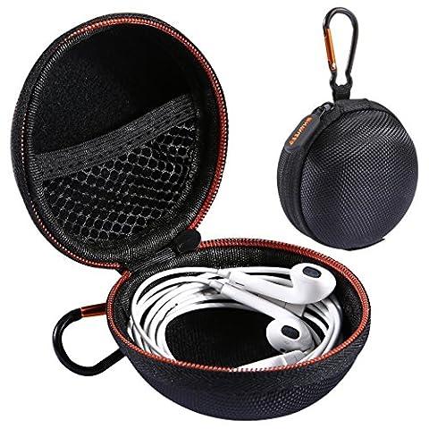 Haweel Apple Airpods casque Coque Format de poche support, Coque rigide en EVA Étui de transport pour écouteurs Bluetooth Headset Earphone Earbuds carte SD USB Flash Drive câble Noir