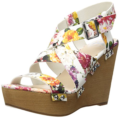 Fergalicious Libby Damen Kunstleder Keilabsätze Sandale White Floral