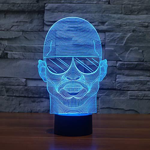 KJFGKF @ 3D nachtlicht Bunte Visuelle 3D LED Nachtlicht Tragen Sonnenbrille Mann Modellierung Schreibtischlampe Für Schlafzimmer USB Lampe Decor Nachttischlampe