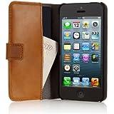 Pipetto P028-24 Étui pour Apple iPhone 5/5S en Cuir Style Portefeuille avec Rabat Camel Marron
