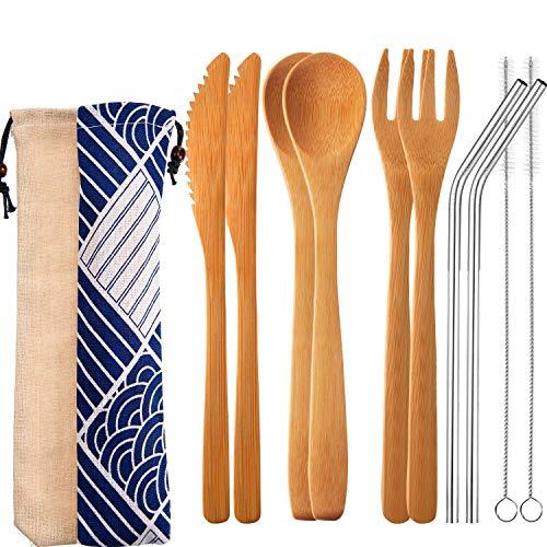 Tatuo Ensemble de 4 Couverts en Bambou Couverts de Voyage Set 7,5 Pouces, Couteau de Bambou, Fourchette, Cuillère, Paille de Métal avec Un Pinceau Propre