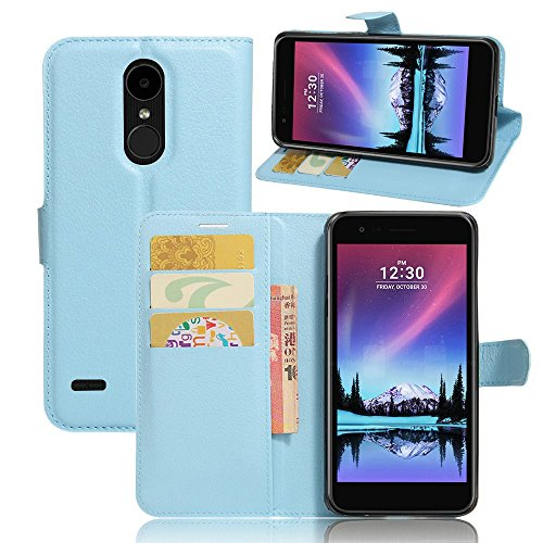 Tasche für LG Mobile K10 (2017) Hülle, Ycloud PU Ledertasche Flip Cover Wallet Case Handyhülle mit Stand Function Credit Card Slots Bookstyle Purse Design blau