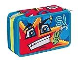 Trousse Scolaire 3 Compartiments , SJ Gang BOY , Bleu Rouge , Avec contenu: crayons, stylos ...!