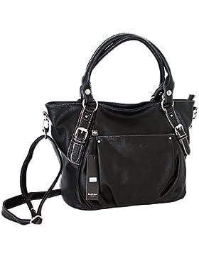 Designer Handtasche Damentasche Tasche Henkeltasche Kunstleder (schwarz)