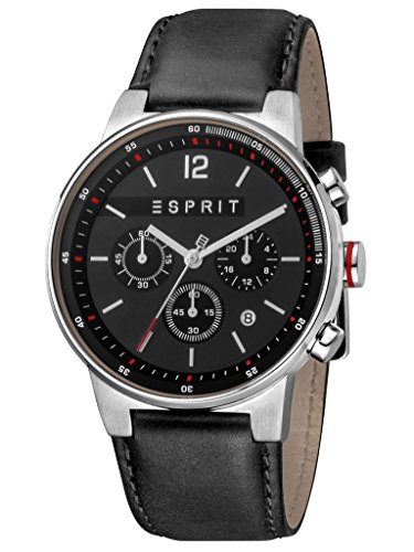 Esprit Herrenuhr Equalizer Black Chronograph 10 Bar Analog Chrono Datum Edelstahl ES-1G025L0025