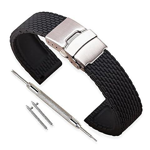 Vinband Bracelet Montre Haute Qualité Remplacer Silicone Bracelet Montre Homme Femme Noir - 18mm, 20mm, 22mm, 24mm Caoutchouc Montre Bracelet avec Quick Release Pins & Boucle Déployante (24mm, noir)