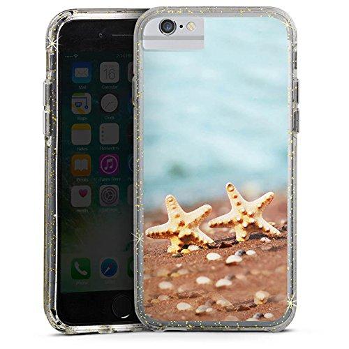 Apple iPhone 7 Bumper Hülle Bumper Case Glitzer Hülle Seestern Beach Strand Bumper Case Glitzer gold