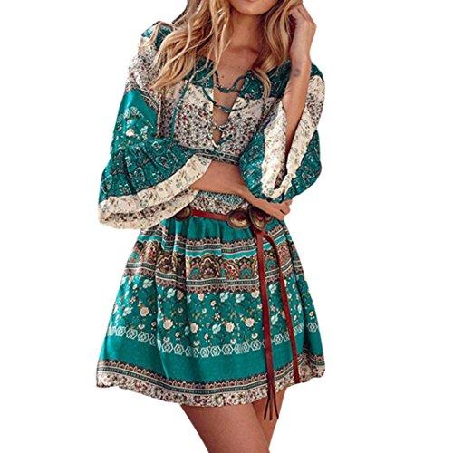 LILICAT Frauen Blumen Drucken Dreiviertelhülse Boho Kleider Damen Abendliche Feier Kleider (Grün, M) (Halter Leger Dress)