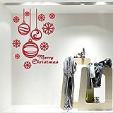 NT0186 Adesivi Murali ''Pendenti con fiocchi di neve'' Vetrofanie natalizie - 73x100 cm - Rosso - Decorazioni vetrine per Natale, stickers, adesivi