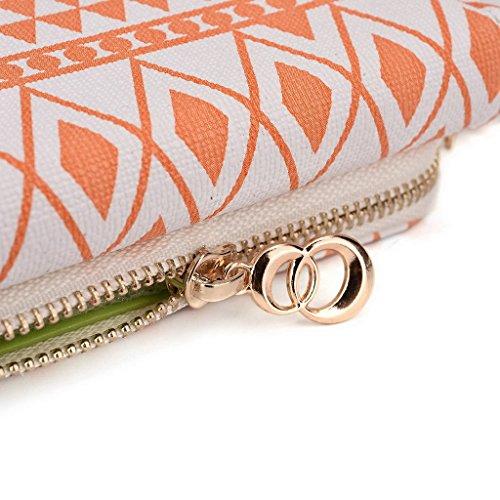 Kroo Pochette/Tribal Urban Style Téléphone Coque pour Samsung Galaxy Trend Lite White with Mint Blue White and Orange