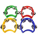 GOOTRADES Set of 4 Plastic Musical Percussion Tambourine Cutaway Half Blossom with 4
