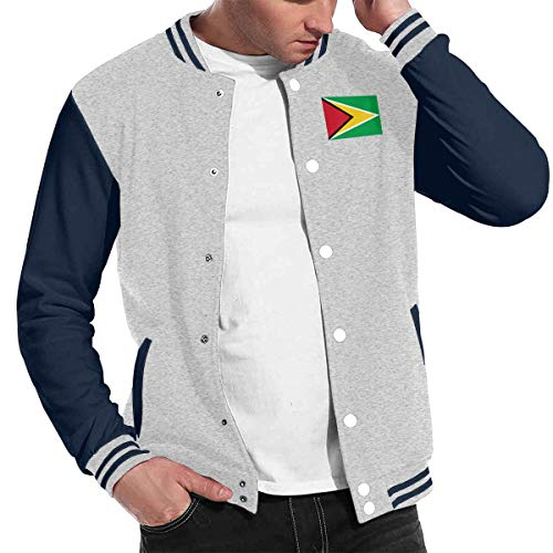 Patrick R Garrett Mode Unisex Baseballuniform Jacke Sport Mantel Flagge von Guyana Herren Damen Erwachsenen Sweatshirt Outwear Lined Hooded Full Zip Sweatshirt