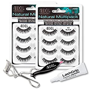 Ardell Fake Eyelashes 101 Value Pack - Natural Multipack 101 (Black, 2-Pack), LashGrip Strip Adhesive, Dual Lash Applicator, Cameo Eyelash Curler - Everything You Need For Perfect False Eyelashes
