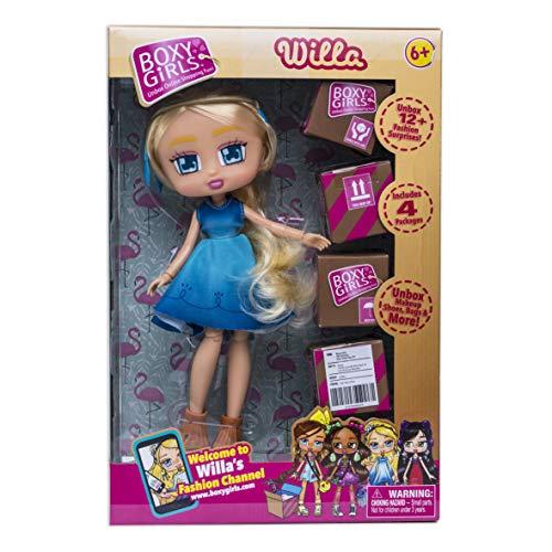 Boxy Girls 35654 Willa, Blonde blauen Augen, Puppen Spielset mit 4 speziell entwickelten Kartons mit Mode und Accessoires gefüllt, tolle Überraschungen für Mädchen ab 6 Jahre