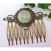 Haarkamm mit filigranem Spitzen Motiv in gold türkis