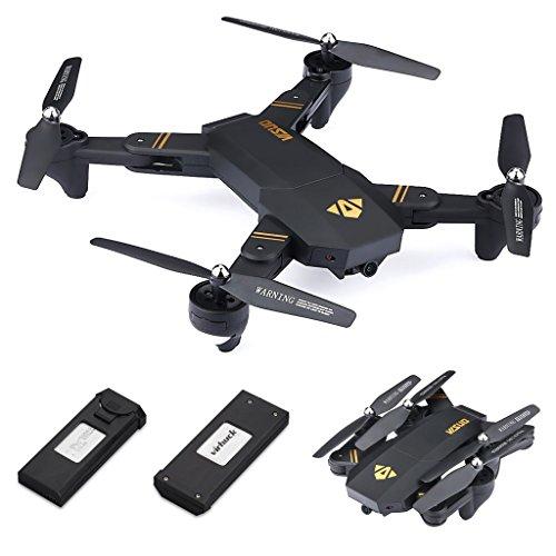 Virhuck Quadricottero Pieghevole 720P Visuo xs809w con 2 Batterie FPV WiFi / altitudine mantenuto / modalità Senza Testa / modalità Alta e Bassa