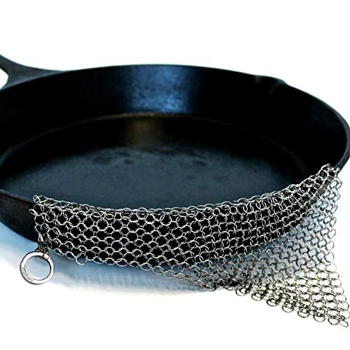 Amagabeli garden home ghisa cleaner in acciaio inox 20 x 15,2cm acciaio scrubber chainmail scrubber per griglie in ghisa skillets bistecchiere padelle raschietto padella grill in ghisa