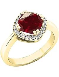 6178ec4cd344 Anillo de compromiso de oro amarillo de 14 quilates con piedras preciosas y  diamantes blancos redondos
