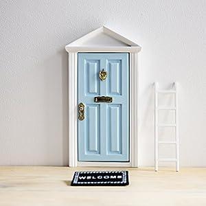 Ratoncito Pérez: Puerta Mágica Azul + Pequeña Llave + Postal de Felicitación + Dibujo para colorear + pequeño felpudo + plantilla para las huellas + pequeña escalera de Puertadelratoncitoperez.com