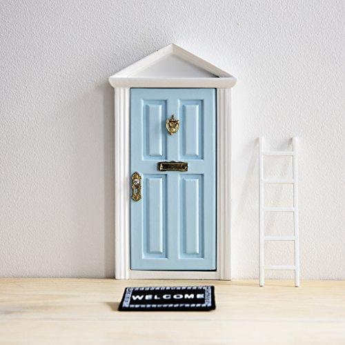 Ratoncito Pérez: Puerta Mágica Azul + Pequeña Llave + Postal de Felicitación + Dibujo para colorear + pequeño felpudo + plantilla para las huellas + pequeña escalera
