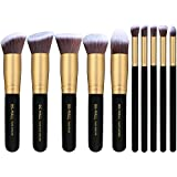 Zafosstore Professional Cosmetic Makeup Brushes Kit with Leather Pouch Bag - Pack of 10 (Black)