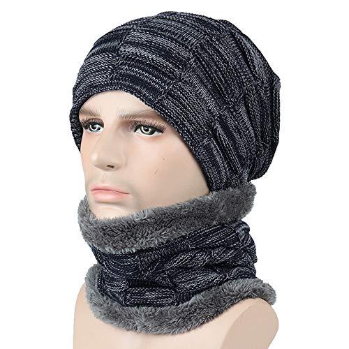 kyprx warme Mütze Mode Hut Hut FashionCheap Strickmütze Schal Mütze Nackenwärmer Hüte Frauen warm Fleece Mütze Marineblau