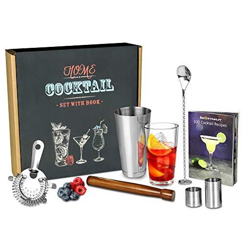 bar@drinkstuff - Set da casa per cocktail + Libro per cocktail (in inglese), in confezione regalo riciclabile, con shaker americano, bicchiere in alluminio e bicchiere in vetro, strainer tipo Hawthorne, pestello, cucchiaio avvitato per mescolare, misurini da 25 ml e 50 ml