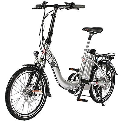 "E-Bike Elektro Faltrad AsVIVA B13 silber mit 36V 15,6Ah Samsung Akku, extrem kompakt | 20"" Klapprad mit 7 Gang Shimano Kettenschaltung, Scheibenbremsen LED Beleuchtung | Elektrofahrrad"