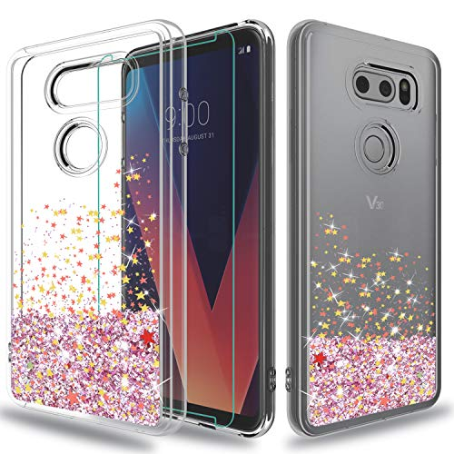 wtiaw LG V30 Case,LG V30+ Case,LG V30 Plus Case,LG V 30 Case,LG V30 2017  Case with HD Screen Protector, [Quicksand Glitter Series] Liquid  Transparent