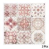 Paris Prix Stick'N Look - Lot de 2 Stickers Carrelage Yto 25x25cm Rouge