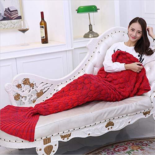 BFHLRDE Frühling Bettwäsche Sofa Meerjungfrau Decke Wolle Stricken Fisch Stil Little Tail Decken warme Schlaf Kind Kinder Prinzessin Liebt Geschenk Red 180 80
