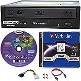 Pioneer 16x bdr-211ubk interne Ultra HD 4K Blu-ray BDXL Brenner in Retail Box, Paket mit 100GB Verbatim M-Disc-BDXL Cyberlink Burning Software und Kabel Zubehör