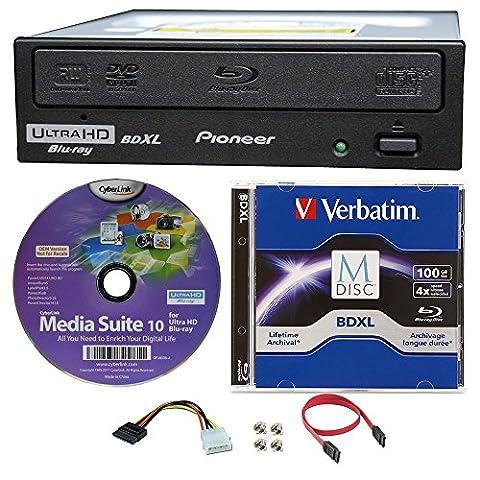 Pioneer 16x Bdr-211ubk Graveur interne Blu-ray BDXL Ultra HD 4K dans l'emballage, Bundle avec 100Go Verbatim BDXL M-DISC, Cyberlink logiciel de gravure et câble Accessoires