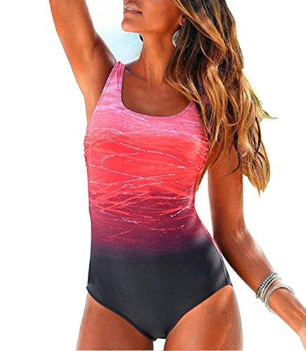 ZIYYOOHY Damen Badeanzüge Einteiler Racer-Back Rückenfreie Figurformend Schlankheits Raffung Badeanzug (Pink, 40)