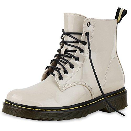Damen Stiefeletten Worker Boots Lack Profilsohle Boots Damen STIEFELETTEN CREME 38