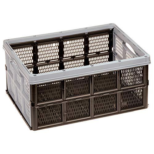 AUFBEWAHRUNGSBOX ORGANIZER von 4smile ǀ Kunststoffbox Autobox faltbar und platzsparend ǀ Inhalt 32 l ǀ stabile und geräumige Klappbox ǀ Farbe: Pastell Grau