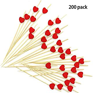 brochettes en bambou 200Compte cure-dents Cœur fête à volants faite à la main fête Picks fête Supplies-12cm
