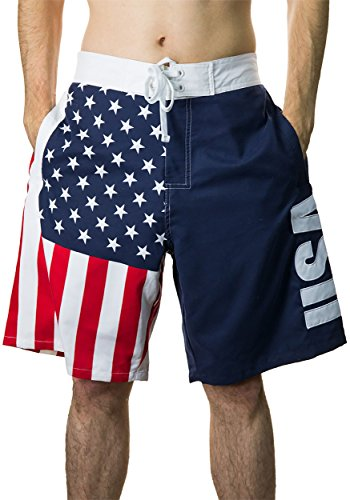 Calhoun Sportswear Men s USA Flag Fourth of July Swim Board Shorts 3X 97f528ce3