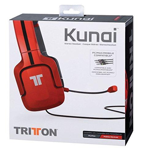 Tritton Kunai - Auriculares de diadema cerrados (con micrófono, control remoto integrado, USB, 3.5 mm), rojo