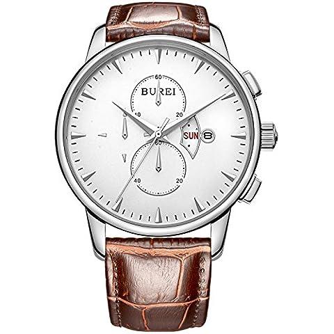 BUREI Herren Armbanduhr Weißem Ziffernblatt mit Tag Datum Kalender Saphirglaslinse