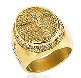 Wibbosad Christian Diamant Kreuz JesusRostfreier Stahl Ringe Für Männer,Runde Gold,Größe 65 (20.7)