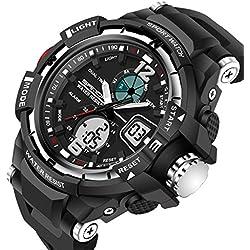 Sports Men Quartz Watch Rubber Strap LED Analogue &Digital Waterproof Casual Wristwatch,Silver